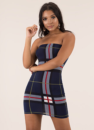 Big Fan Strapless Plaid Minidress