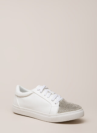 Bling It Jeweled Faux Leather Sneakers