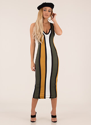 Join The Panel Striped Midi Dress