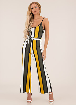 Join The Panel Tied Striped Jumpsuit
