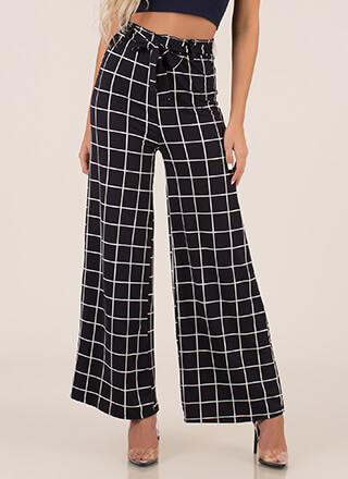 Grid Luck To You Tied Palazzo Pants
