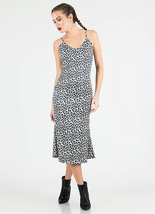Spot On Silky Leopard Slip Dress
