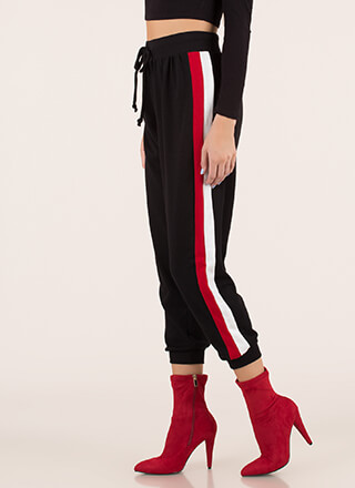 At Your Leisure Sporty Striped Joggers