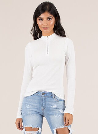 Essentials Zip-Front Rib Knit Top