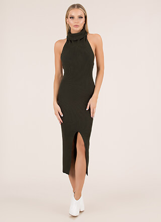 Knit-Girl Slit Turtleneck Halter Dress