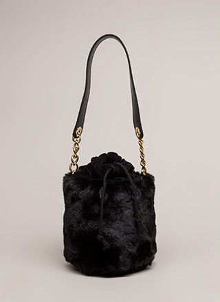 My Cup Of Tea Mini Faux Fur Bucket Bag