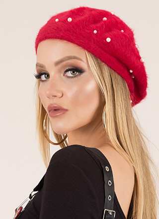 Girl About Town Furry Faux Pearl Beret