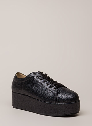 Going For Glitter Platform Sneakers