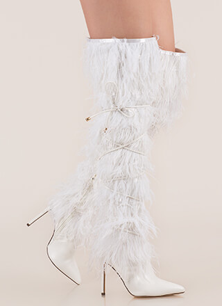 Feather Fashion Tied Thigh-High Boots