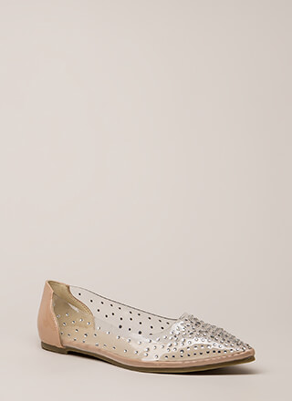 Clearly Sparkling Pointy Jeweled Flats