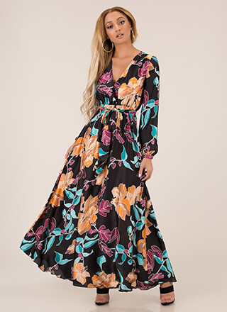 Flare For Flowers Flowy Tied Maxi Dress
