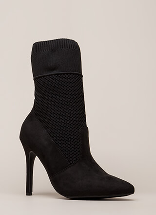 Sock 'N Roll Pointy Mesh Knit Booties