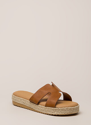 Just Superb Braided Faux Leather Sandals