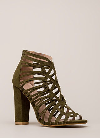 Knotty List Strappy Caged Chunky Heels