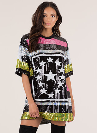 True Star Striped Sequined T-Shirt Dress