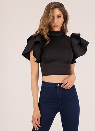 Dramatic Entrance Ruffle Sleeve Crop Top