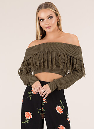 Tassel Time Cropped Off-Shoulder Sweater
