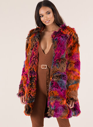 Burst Of Color Soft Faux Fur Coat