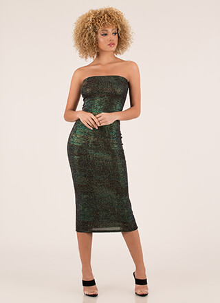 Glam In Glitter Strapless Midi Dress