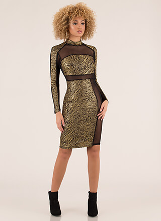 Make An Imprint Mesh Contrast Dress