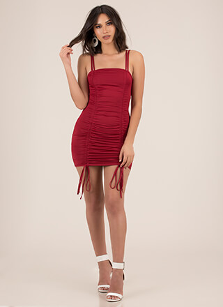 Shirr Thing Ruched Tied Minidress