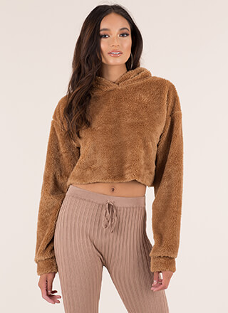 Teddy Bear Fuzzy Hooded Crop Top