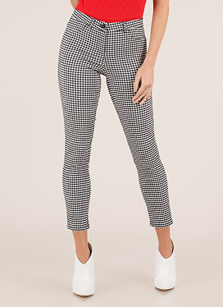 Girls In Gingham Cropped Skinny Pants