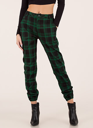 Feels Good To Be Plaid Jogger Trousers