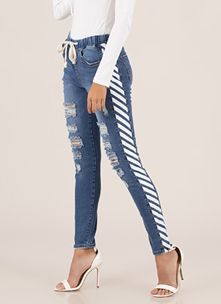 Warning Sign Distressed Striped Jeans