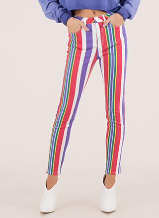 Wear The Rainbow Striped Skinny Jeans