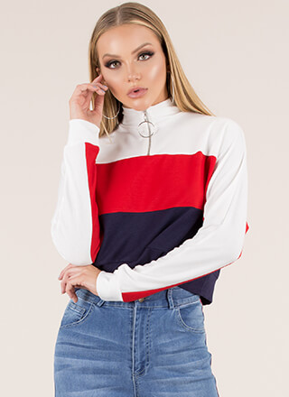It Takes Three Zip-Front Colorblock Top