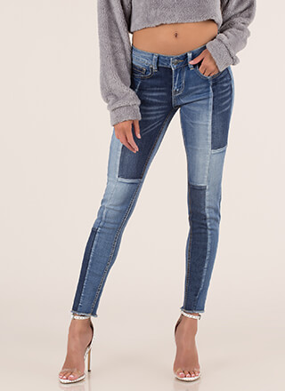 Expert Panels Patchwork Skinny Jeans