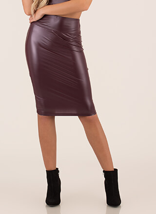 My Curves Faux Leather Midi Skirt