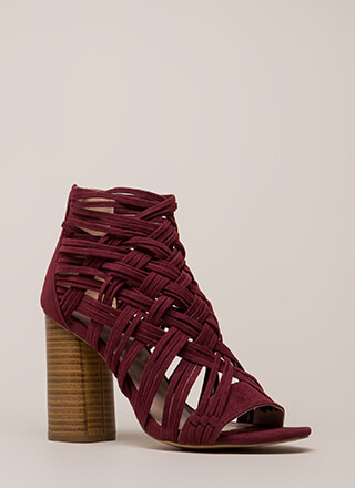 Web Sight Chunky Woven Caged Heels