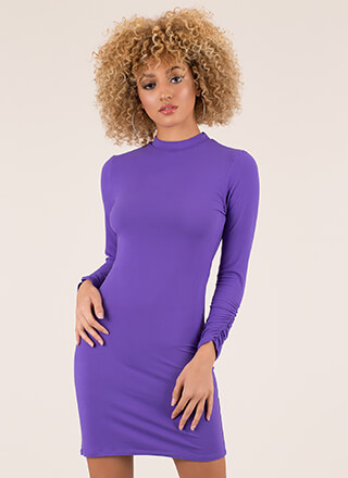 Positively Shirr Ruched Sleeve Dress