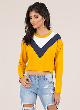 Playdate Colorblock Chevron Crop Top