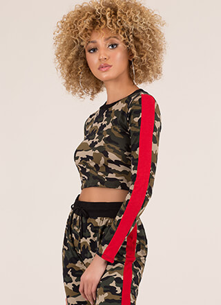 Now You See Me Striped Camo Crop Top