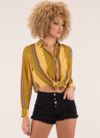 Knot Today Striped Cropped Blouse
