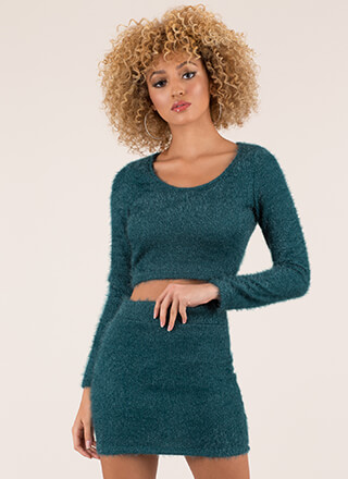 Fuzz-Worthy Knit Top And Skirt Set