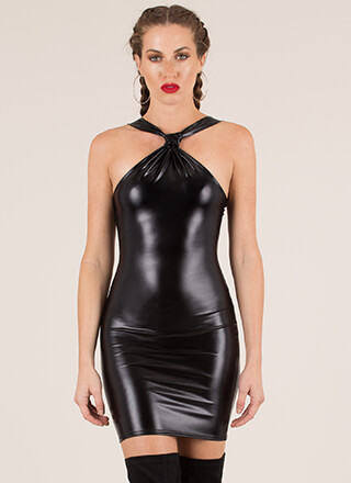New Skin Knotted Faux Leather Dress