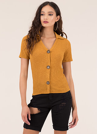 Button It Collared Rib Knit Top