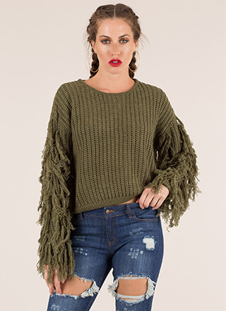 Tassel Time Fringed Knit Sweater