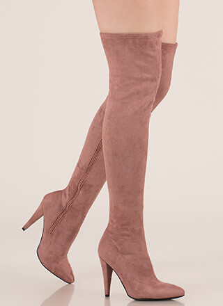 All Legs Faux Suede Thigh-High Boots