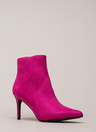 Success Rate Pointy Faux Suede Booties