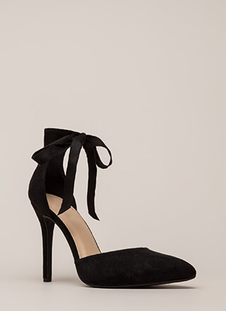 a0f387f8ce01 To Tie For Pointy Faux Suede Heels