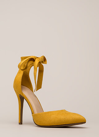 To Tie For Pointy Faux Suede Heels