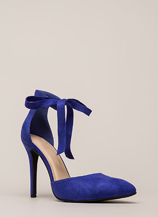 To Tie For Pointy Vegan Suede Heels