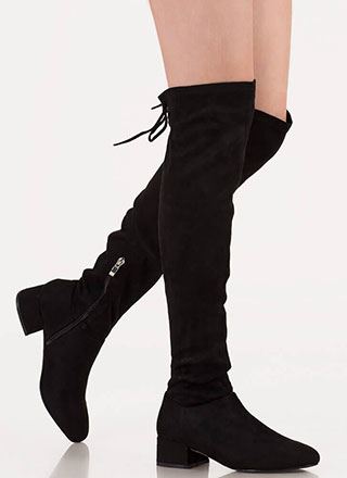 Laced It Block Heel Thigh-High Boots