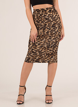 Lady In Leopard Ruched Mesh Midi Skirt
