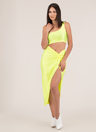 Neon Lights Asymmetrical 2-Piece Dress